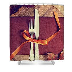 Rustic Table Setting For Autumn Shower Curtain by Amanda And Christopher Elwell