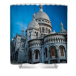 Sacre-coeur At Night Shower Curtain by Inge Johnsson