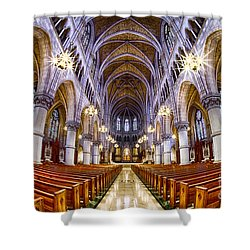 Sacred Heart Basilica Shower Curtain by Jerry Fornarotto