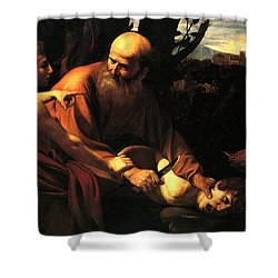Sacrifice Of Issac Shower Curtain by Caravaggio
