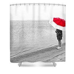 Safe Under The Umbrella Shower Curtain by Karol Livote