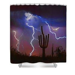 Saguaro Lightning Nature Fine Art Photograph Shower Curtain by James BO  Insogna