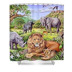 Saharan Animal Gathering Shower Curtain by Mark Gregory