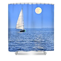 Sailboat At Full Moon Shower Curtain by Elena Elisseeva
