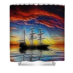Sailboat Fractal Shower Curtain by Shane Bechler
