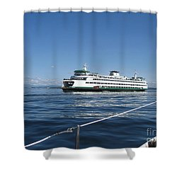 Sailboat Sees Ferryboat Shower Curtain by Kym Backland