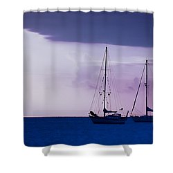 Sailboats At Sunset Shower Curtain by Don Schwartz