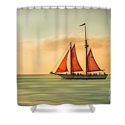 Sailing Into The Sun Shower Curtain by Hannes Cmarits