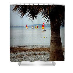Sailing On A Cloudy Morning Shower Curtain by Lainie Wrightson