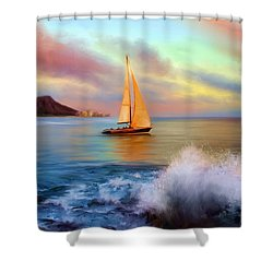 Sailing Past Waikiki Shower Curtain by Dale Jackson