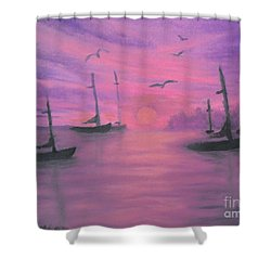 Sails At Dusk Shower Curtain by Holly Martinson