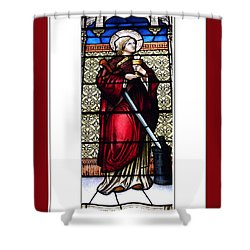 Saint Barbara Stained Glass Window Shower Curtain by Rose Santuci-Sofranko