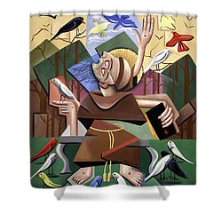Saint Francis Sermon To The Birds Shower Curtain by Anthony Falbo