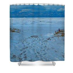 Saint Joseph Michigan Beach In Winter Shower Curtain by Dan Sproul