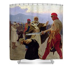 Saint Nicholas Of Myra Saves Three Innocents From Death Shower Curtain by Ilya Efimovich Repin