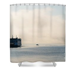 Salish Into The Fog Shower Curtain by Mike  Dawson
