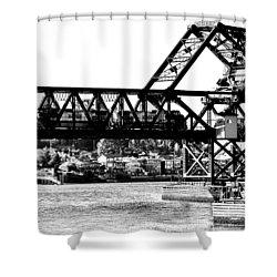 Salmon Bay Bridge Shower Curtain by Benjamin Yeager