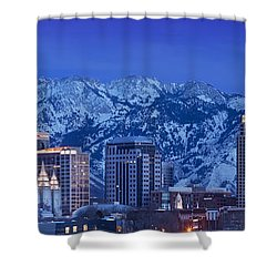 Salt Lake City Skyline Shower Curtain by Brian Jannsen