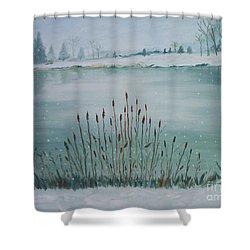 Saltville Pond Shower Curtain by Julie Brugh Riffey