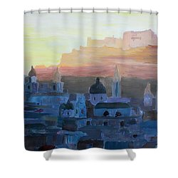 Salzburg At Dusk Shower Curtain by M Bleichner