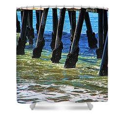 San Clemente Pier Shower Curtain by Mariola Bitner