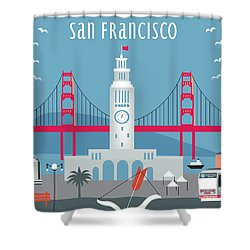 San Francisco Ferry Building Shower Curtain by Karen Young
