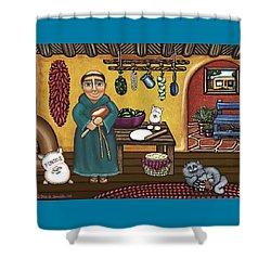 San Pascuals Kitchen Shower Curtain by Victoria De Almeida