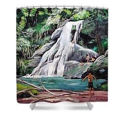 San Sebastian Waterfall Shower Curtain by Luis F Rodriguez