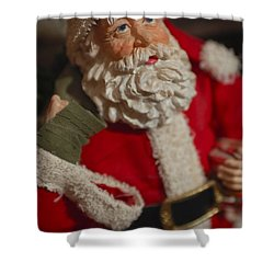 Santa Claus - Antique Ornament - 02 Shower Curtain by Jill Reger