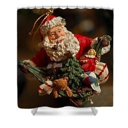 Santa Claus - Antique Ornament - 04 Shower Curtain by Jill Reger