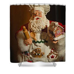 Santa Claus - Antique Ornament - 22 Shower Curtain by Jill Reger