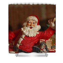 Santa Claus - Antique Ornament - 26 Shower Curtain by Jill Reger