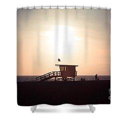 Santa Monica Lifeguard Stand Sunset Photo Shower Curtain by Paul Velgos