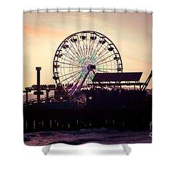 Santa Monica Pier Ferris Wheel Retro Photo Shower Curtain by Paul Velgos
