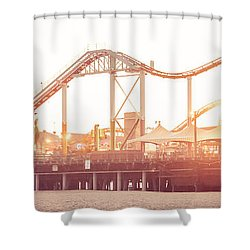 Santa Monica Pier Roller Coaster Panorama Photo Shower Curtain by Paul Velgos