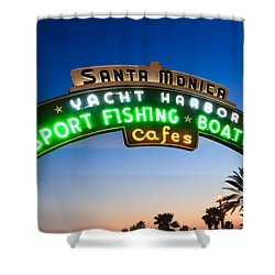 Santa Monica Pier Sign Shower Curtain by Paul Velgos