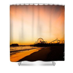 Santa Monica Pier Sunset Southern California Shower Curtain by Paul Velgos