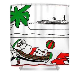 Santa On Vacation Shower Curtain by Genevieve Esson