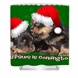Santa Paws Is Coming To Town Christmas Greeting Shower Curtain by Tracey Harrington-Simpson