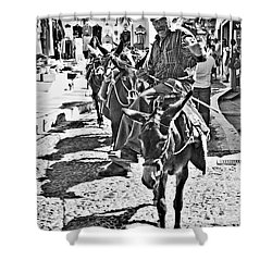 Santorini Donkey Train. Shower Curtain by Meirion Matthias