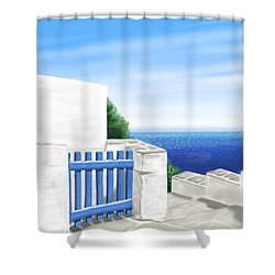 Santorini Shower Curtain by Veronica Minozzi