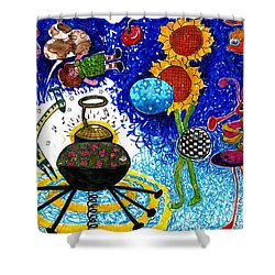 Satelite Critters Shower Curtain by Genevieve Esson