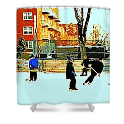 Saturday Afternoon Hockey Practice At The Neighborhood Rink Montreal Winter City Scene Shower Curtain by Carole Spandau