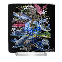 Save Our Seas In008 Shower Curtain by Carey Chen