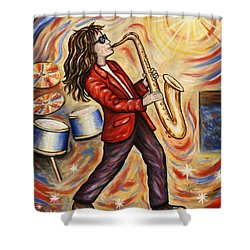 Sax Man Shower Curtain by Linda Mears