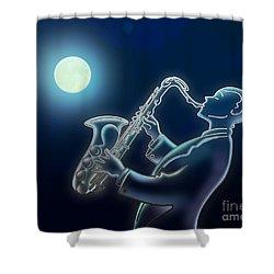 Sax-o-moon Shower Curtain by Bedros Awak