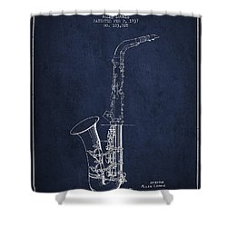 Saxophone Patent Drawing From 1937 - Blue Shower Curtain by Aged Pixel