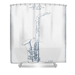 Saxophone Patent Drawing From 1937 - Blue Ink Shower Curtain by Aged Pixel