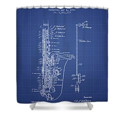 Saxophone Patent From 1928 - Blueprint Shower Curtain by Aged Pixel