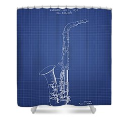 Saxophone Patent From 1937 - Blueprint Shower Curtain by Aged Pixel